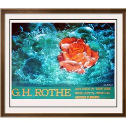 Gh Rothe Plate Signed 1977 Rose In Bubbles