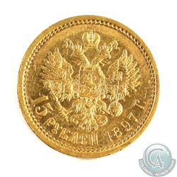 Russia; 1897 Gold 15 Roubles. Coin has a weight of 12.9 grams and contains 0.3734 oz. of Pure Gold.