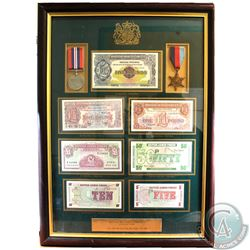 Framed British Military Currency Collection Including the 1939-1945 Star & War Medal. You will recei