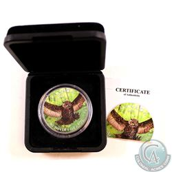2015 Canada $5 Birds of Prey Great Horned Owl 1oz Fine Silver Colourized Coin in black Display Box (