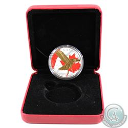 2014 Canada $5 Birds of Prey Red-Tailed Hawk 1oz Fine Silver Colourized & Gold Plated Coin in Red RC