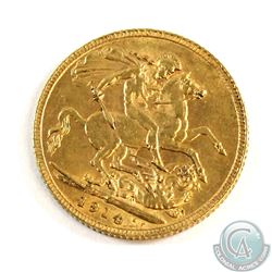 1914 Great Britain Gold Sovereign. Coin weighs 7.98 grams and contains 0.2354 oz. of Pure Gold.