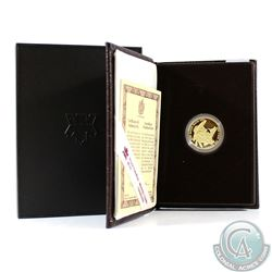 1989 Canada Proof 14-Karat $100 Gold Coin - Sainte-Marie Among the Hurons. This coin weighs 13.338 g