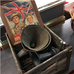 Wood Crate Lot: Ahooga Horn, Framed Victory Bonds Pic, Funnels, Oil Cans, etc