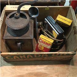 Canada Dry Wood Crate Lot: Coffee Grinder, Toaster, Cigar Box, Ice Cream Scoop, etc