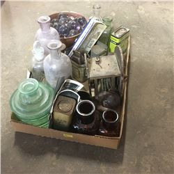 Tray Lot: Labware Bottles, Amethyst Glass Ball Claw Feet (2); Tins, Bells, etc !