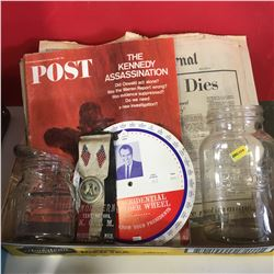 Tray Lot: Kennedy Assassination Newspapers, Magazine, President Knowledge Wheel, Knights of the Macc