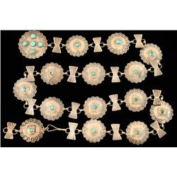 Old Pawn Hammered Silver & Turquoise Concho Belt