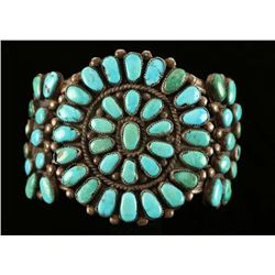 Old Pawn Sterling & Turquoise Petit Point Cuff