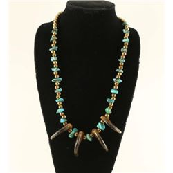 Old Pawn Turquoise & Bear Claw Nugget Necklace