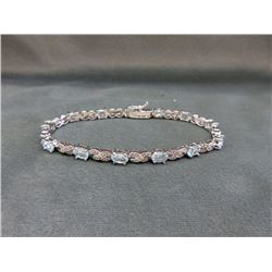 7.15 CT Blue Topaz & Diamond Tennis Bracelet