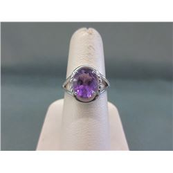 Diamond & Amethyst Solitaire Ring