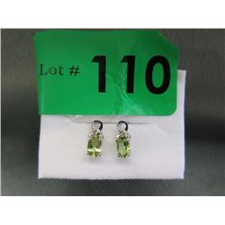 New Green Peridot & Diamond Earrings