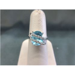 Huge Blue Topaz & Diamond Wrap Design Ring