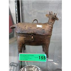 Cast Metal Reindeer Shaped Lidded Box