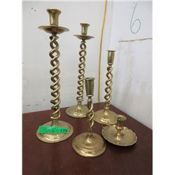 5 Brass Candle Holders - Tallest is 16""