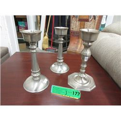 "3 Gluckstein 8"" Metal Candle Holders"