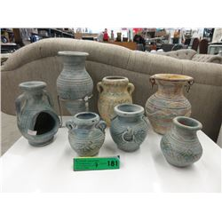 6 Pottery Vases & a Candle Holder
