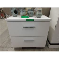 New White Lacquer 2 Drawer Bedside Table