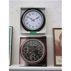 "Pair of New 16"" Wall Clocks with Glass Lenses"