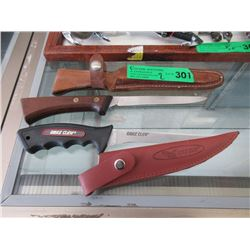 "2 Hunting Knives with Sheaths - 5"" Blades"