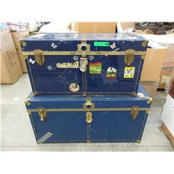 2 Metal Clad Storage Trunks