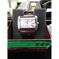 Cartier Watch with Leather Strap - Pre Owned