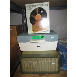 2 Vintage Record Players & Record Vacuum