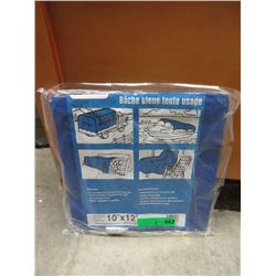 2 New 10 Foot  x 12 Foot Blue Poly Tarps