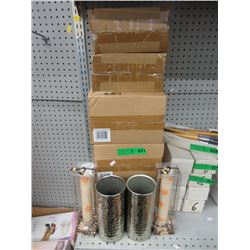 "5 Pairs of New Metal Vases & 11"" Candles"