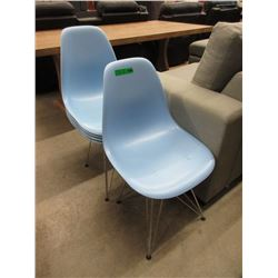 2 Molded Blue Chairs with 3 Extra Seats