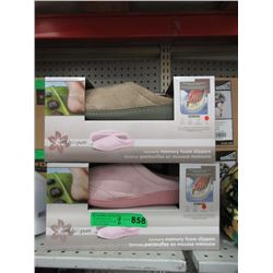 2 New Pairs of Memory Foam Slippers - Size L & XL