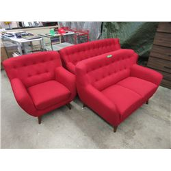 New Retro Style 3 Piece Red Fabric Sofa Set