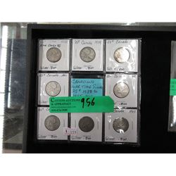 8 Canadian War Time Silver Quarters - .800 Silver