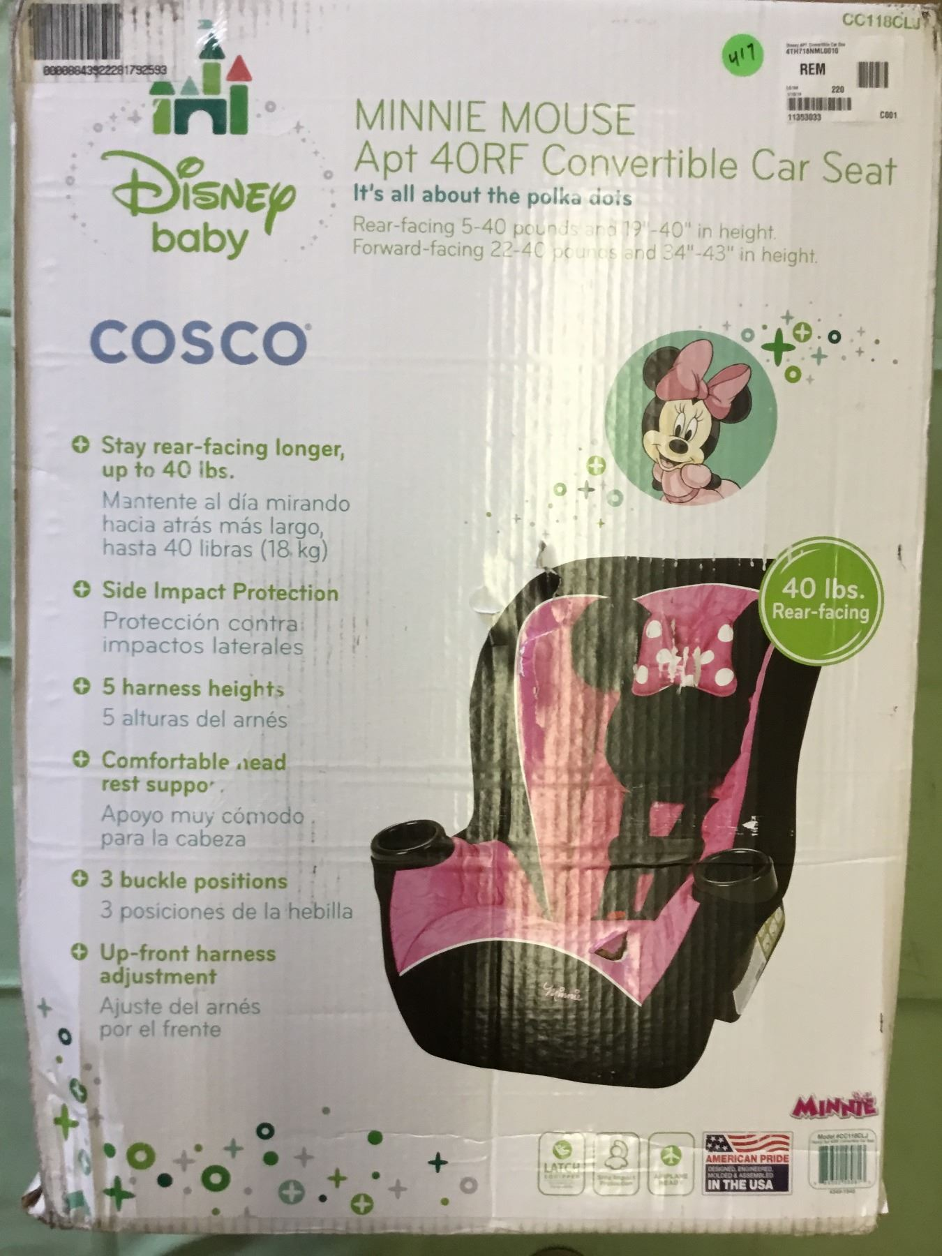 Image 1 Cosco Minnie Mouse Apt 40RF Convertible Car Seat