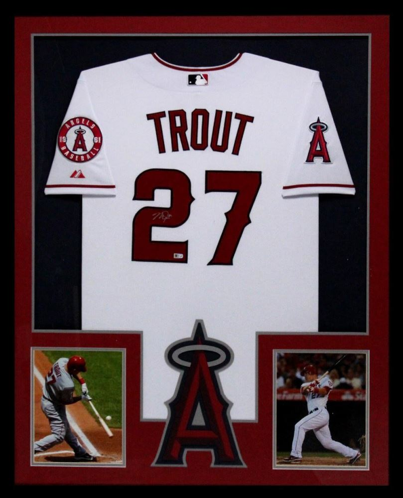638aa1e815c low price image 1 mike trout signed angels 34x42 custom framed jersey mlb  hologram 771a0 c9a56