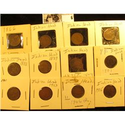 Indian Head Cent Group: 1866, 1880, 1883, 1887, 1888, 1889, 1891, (2) 1901, 1903, & (2) 1906. All ca
