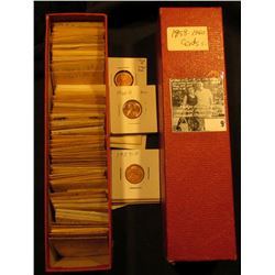 """9"""" Red Stock Box with various 1959-60 Lincoln Cents in manilla envelopes & carded holders with grade"""