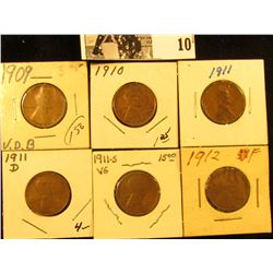 1909P VDB EF, 10P EF, 11P VG, 11D (damaged); 11S VG, & 12P Fine U.S. Lincoln Cents.