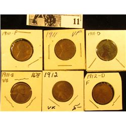 1910P VG, 11P VF, 11D (environmental damage), 11S VG, 12P VF, & 12D Fine U.S. Lincoln Cents.