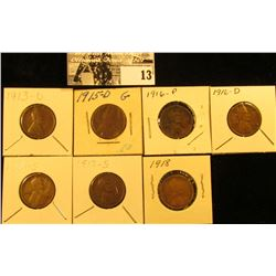 1913D Fine, 15D Good, 16P VG, 16D Good, 16S Fine, 17S VG, & 18P EF U.S. Lincoln Cents.