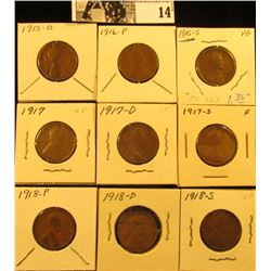 1915D VG, 16P G+, 16S VG, 17P EF, 17D VF, 17S Fine, 18P Good, 18D Fine, & 18S VF  U.S. Lincoln Cents