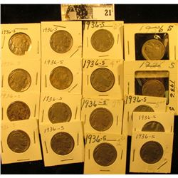 """(17) 1936 S Buffalo Nickels all carded in 1 1/2"""" & 2"""" holders. Some slightly better grades."""