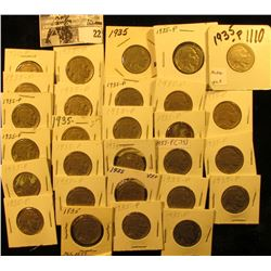 """(28) 1935 P Buffalo Nickels all carded in 1 1/2"""" & 2"""" holders. Some slightly better grades."""