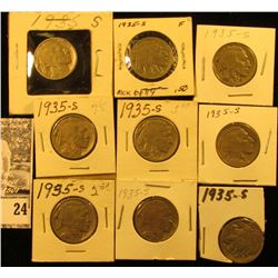 """(9) 1935 S Buffalo Nickels all carded in 1 1/2"""" & 2"""" holders. Some slightly better grades."""