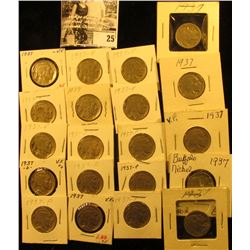 """(20) 1937 P Buffalo Nickels all carded in 1 1/2"""" & 2"""" holders. Some slightly better grades."""
