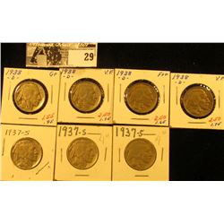 """(3) 1937 S & (4) 14 D Buffalo Nickels all carded in 1 1/2"""" holders. Some slightly better grades."""