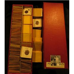 """14"""" Red Double Row Stock Box full of Lincoln Cents dating 1927-39. All stored in white or manilla en"""