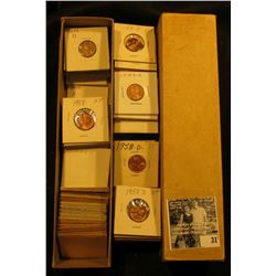 """10 1/4"""" x  2"""" x 2"""" Stock Box full of Lincoln Cents dating 1957-58. All stored in white or manilla en"""
