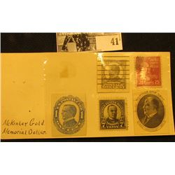 Bag of (5) McKinley Stamps, (3) areMcKinley Post card stamps. One is uncancelled.